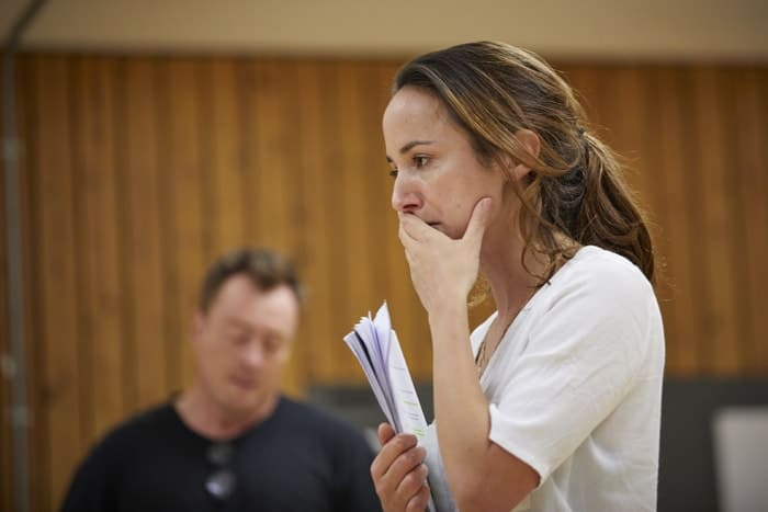 l-r Toby Stephens and Lydia Leonard in rehearsal for 'Oslo' - photo credit Brinkhoff Mögenberg.