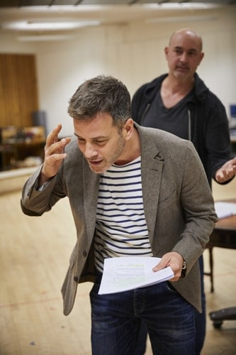 l-r Yair Jonah Lotan and Daniel Stewart in rehearsal for 'Oslo' - photo credit Brinkhoff Mogenberg.