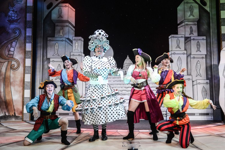 Andrew Pollard as Long Joan Silver, Louise Young as Wendy and members of the company in Peter Pan A New Adventure at Greenwich Theatre, photo credit Robert Day