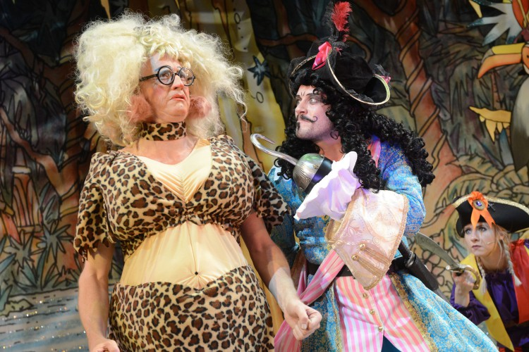 Andrew Pollard as Long Joan Silver and Anthony Spargo as Captain Hook in Peter Pan A New Adventure at Greenwich Theatre, photo credit Robert Day
