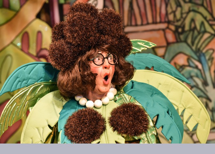Andrew Pollard as Long Joan Silver in Peter Pan A New Adventure at Greenwich Theatre, photo credit Robert Day