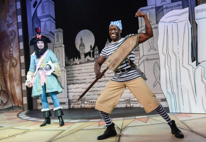 Anthony Spargo as Captain Hook and Sackie Osakonor as Smee in Peter Pan A New Adventure at Greenwich Theatre, photo credit Robert Day