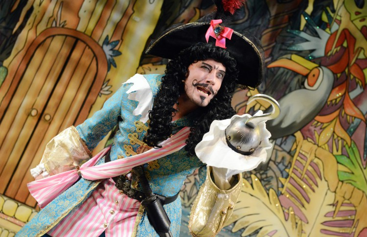 Anthony Spargo as Captain Hook in Peter Pan A New Adventure at Greenwich Theatre, photo credit Robert Day
