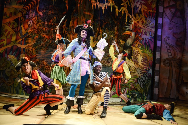 Anthony Spargo as Captain Hook with members of the company in Peter Pan A New Adventure at Greenwich Theatre, photo credit Robert Day
