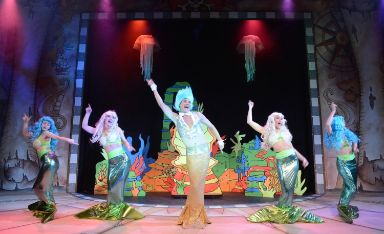 James McAllister as Ethel Merman and members of the company in Peter Pan A New Adventure at Greenwich Theatre, photo credit Robert Day
