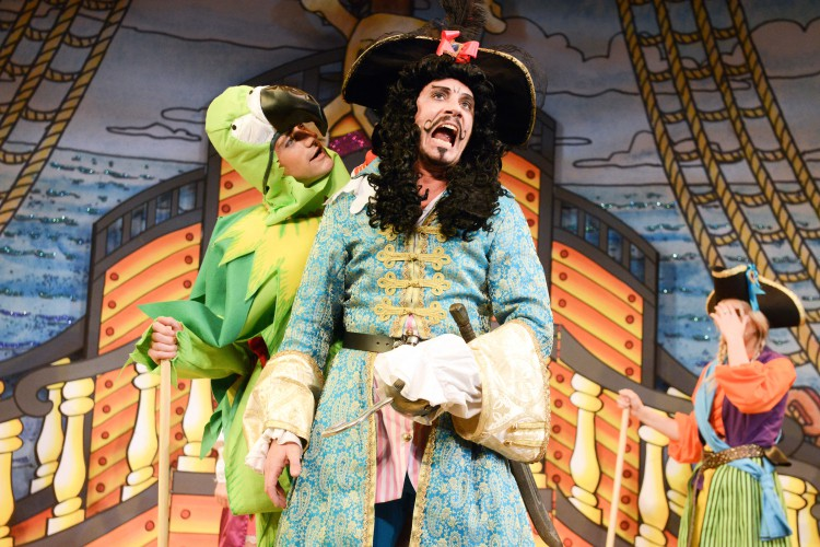 James McAllister as Percy and Anthony Spargo as Captain Hook in Peter Pan A New Adventure at Greenwich Theatre, photo credit Robert Day