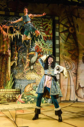 Rory Maguire as Peter and Anthony Spargo as Captain Hook in Peter Pan A New Adventure at Greenwich Theatre, photo credit Robert Day