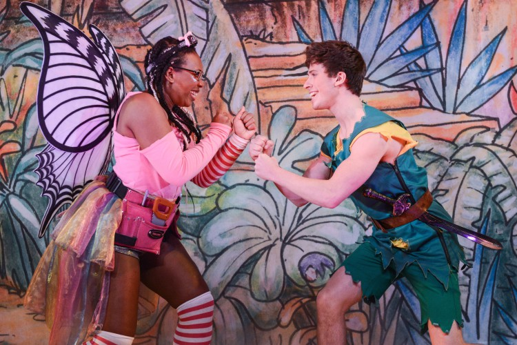 Rory Maguire as Peter and Krystal Dockery as Tinkerbell in Peter Pan A New Adventure at Greenwich Theatre, photo credit Robert Day