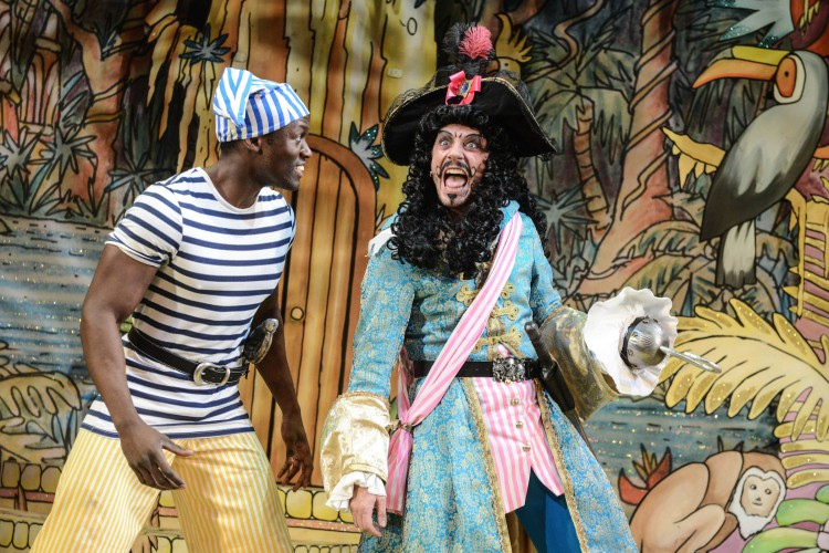 Sackie Osakonor as Smee and Anthony Spargo as Captain Hook in Peter Pan A New Adventure at Greenwich Theatre, photo credit Robert Day
