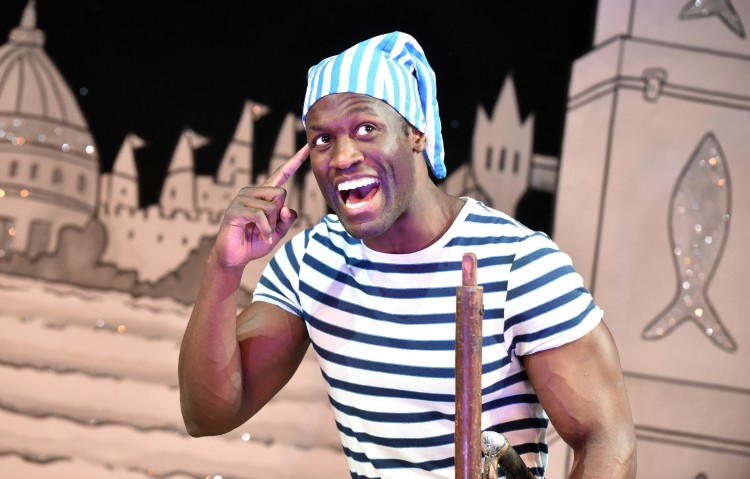 Sackie Osakonor as Smee in Peter Pan A New Adventure at Greenwich Theatre, photo credit Robert Day