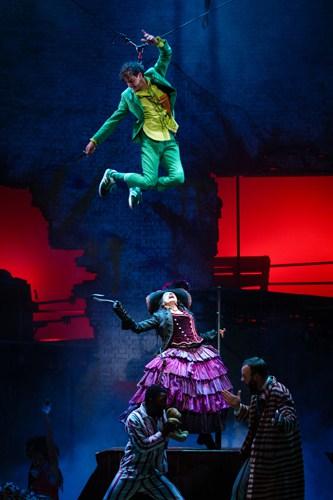 Peter Pan (Paul Hilton) and Captain Hook (Anna Francolini)