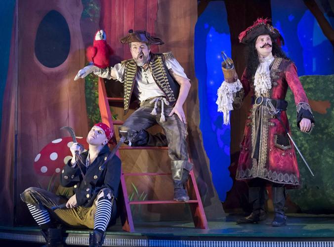 Peter Pan Goes Wrong - Laurence Pears (Francis), Oliver Senton (Robert) and Harry Kershaw (Chris)- image credit Alistair Muir