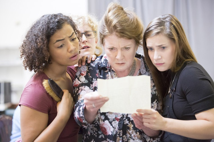 Felicity Montagu as Mrs Bennet with Anna Crichlow, Leigh Quinn and Mari Izzard as Kitty, Mary and Lydia Bennet. Photo Johan Persson