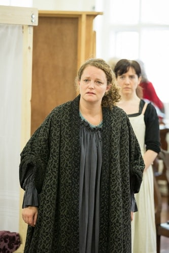 Emma Cunniffe as Queen Anne in rehearsals for Queen Anne. Credit Marc Brenner