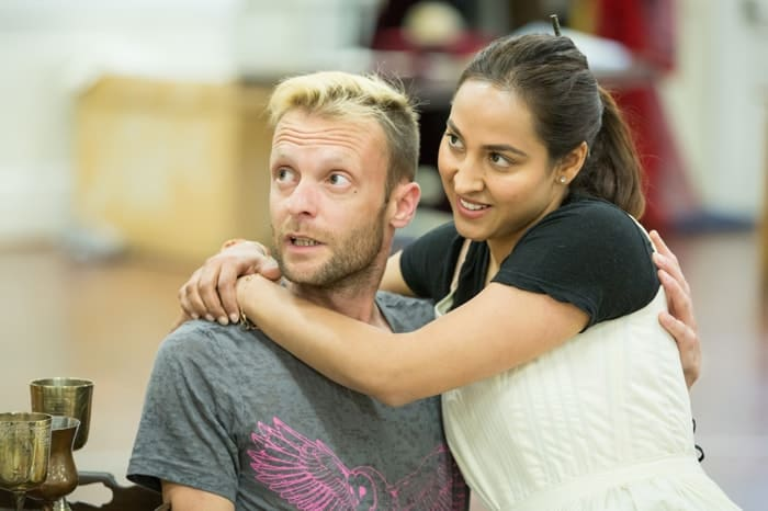 Carl Prekopp as Daniel Defoe and Sheena Bhattessa as Lady Somerset in rehearsals for Queen Anne. Credit Marc Brenner