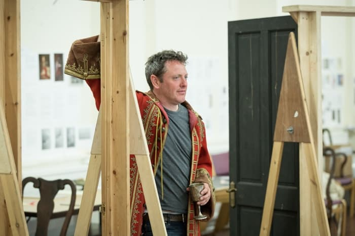 Hywel Morgan as Prince George in rehearsals Queen Anne. Credit Marc Brenner
