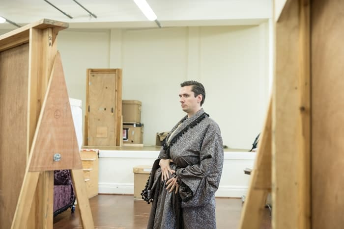 Jonathan Christie as Arthur Maynwaring in rehearsals for Queen Anne. Credit Marc Brenner