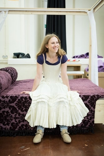 Abigail Hill in rehearsals for Queen Anne. Credit Marc Brenner