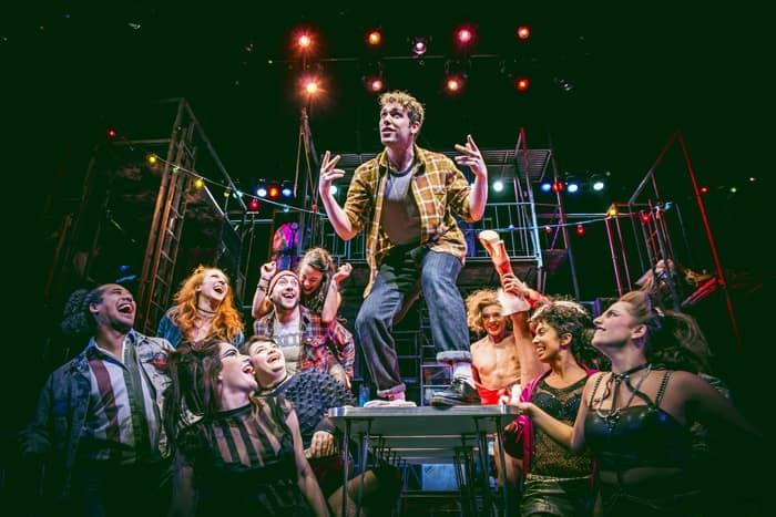 Billy Cullum (centre) as Mark with the cast of RENT. Credit Matt Crockett