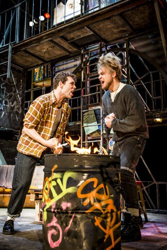 LtoR Billy Cullum as Mark and Ross Hunter as Roger in RENT. Credit Matt Crockett