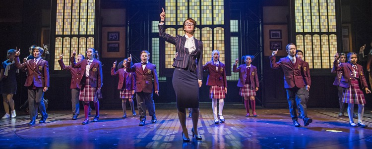 Florence Andrews (Rosalie Mullins) & the kids from School of Rock, photo by Tristram Kenton