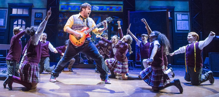 David Fynn (Dewey Finn) & the kids from School of Rock, photo by Tristram Kenton
