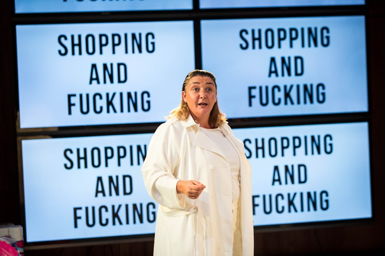 Ashley McGuire as Brian in Shopping and F***king Lyric Hammersmith Photo by Helen Murray