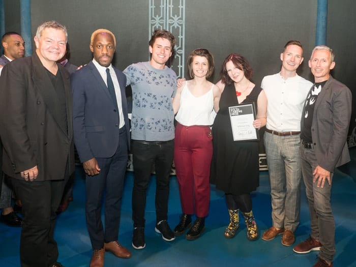 Anthony Drewe, Giles Terera, Tom Lees, Georgia Frost, Claire Rivers, Dan Gillespie Sells and George Stiles Credit David Ovenden