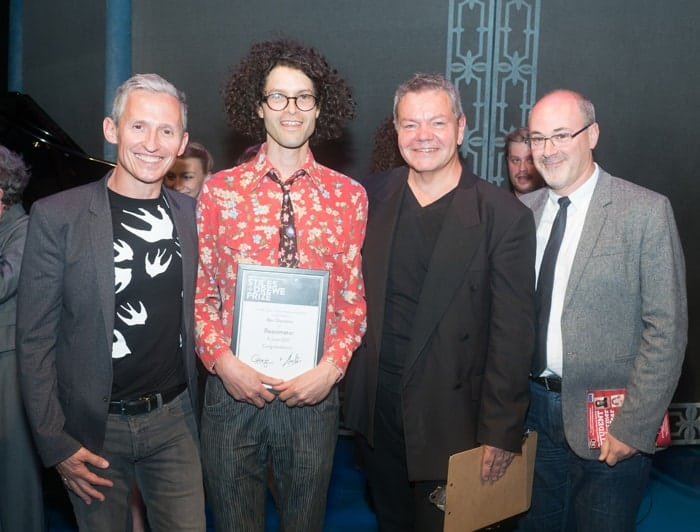 George Stiles, Ben Glasstone (winner of the MTI Stiles + Drewe Mentorship Award) Anthony Drewe and Bert Fink Credit David Ovenden