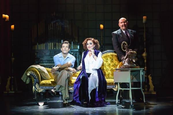 SUNSET BOULEVARD. Danny Mac 'Joe Gillis', Ria Jones 'Norma Desmond' and Adam Pearce 'Max Von Meyerling'. Photo Manuel Harlan