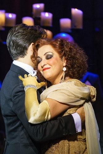 SUNSET BOULEVARD. Danny Mac 'Joe Gillis' and Ria Jones 'Norma Desmond'. Photo Manuel Harlan