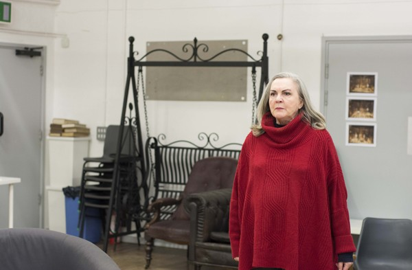 Gwen Taylor in rehearsals for THE IMPORTANCE OF BEING EARNEST. Photo credit James Findlay