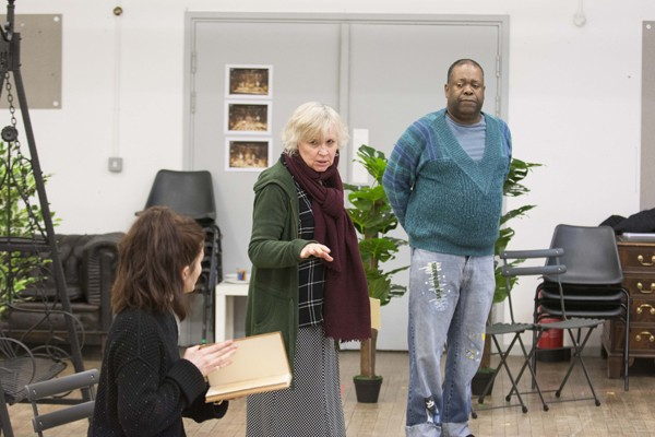 LtoR Louise Coulthard, Susan Penhaligon & Geoff Aymer in rehearsals for THE IMPORTANCE OF BEING EARNEST. Photo credit James Findlay