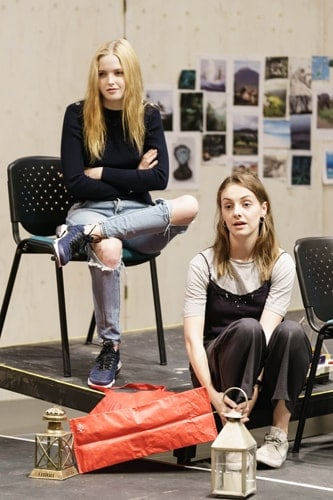 Ellie Bamber (Hilde) and Helena Wilson (Bolette) in rehearsals for The Lady from the Sea at the Donmar Warehouse. Photo by Manuel Harlan