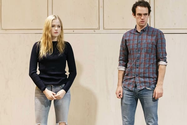 Ellie Bamber (Hilde) and Jonny Holden (Lynstrand) in rehearsals for The Lady from the Sea at the Donmar Warehouse. Photo by Manuel Harlan