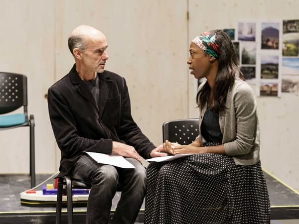 Finbar Lynch (Dr Wangel) and Nikki Amuka-Bird (Ellida) in rehearsals for The Lady from the Sea at the Donmar Warehouse. Photo by Manuel Harlan