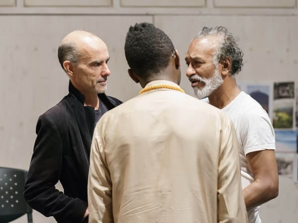 Finbar Lynch, Kwame Kwei-Armah (Director) and Jim Findley (Ballested) in rehearsals for The Lady from the Sea at the Donmar Warehouse. Photo by Manuel Harlan