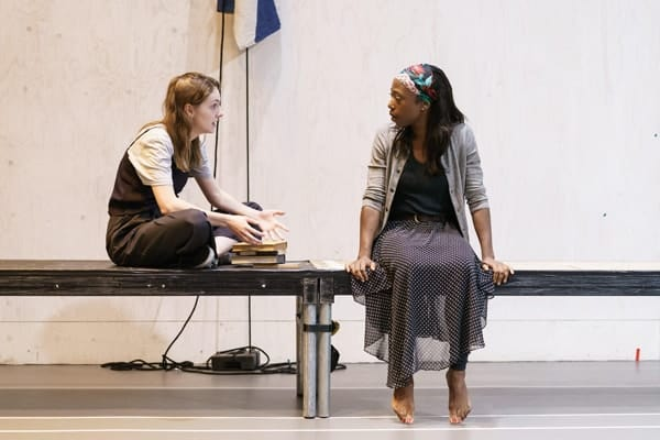 Helena Wilson (Bolette) and Nikki Amuka-Bird (Ellida) in rehearsals for The Lady from the Sea at the Donmar Warehouse. Photo by Manuel Harlan
