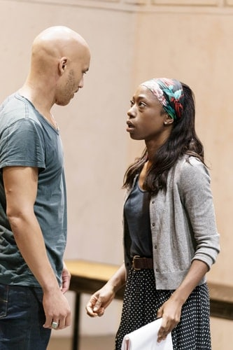 Jake Fairbrother (The Stranger) and Nikki Amuka-Bird (Ellida) in rehearsals for The Lady from the Sea at the Donmar Warehouse. Photo by Manuel Harlan