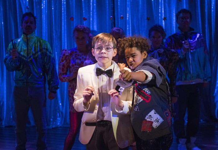 The Secret Diary of Adrian Mole Aged 13 ¾ - The Musical. Benjamin Lewis (Adrian) & Amir Wilson (Nigel). Credit - Alastair Muir