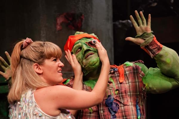 THE TOXIC AVENGER THE MUSICAL - Emma Salvo as Sarah Mark Anderson as Toxie Photo Irina Chira