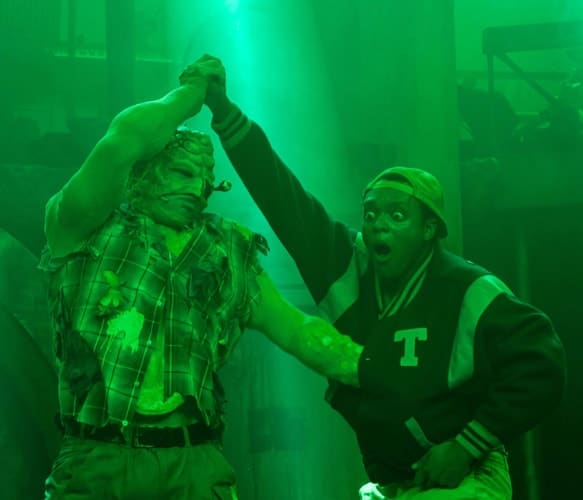 THE TOXIC AVENGER THE MUSICAL - Mark Anderson as Toxie and Ché Francis Photo Irina Chira