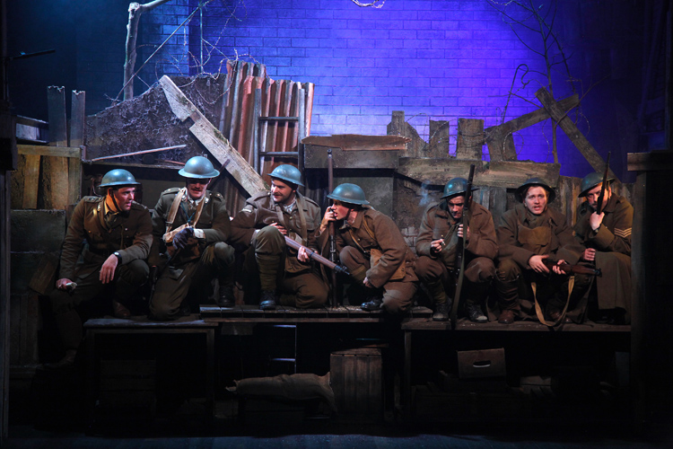 LtoR James Dutton, George Kemp, Kevin Brewer, Peter Losasso, Jake Morgan, Sam Ducane, Dan Tetsell. The Wipers Times-Photographer Philip Tull-178