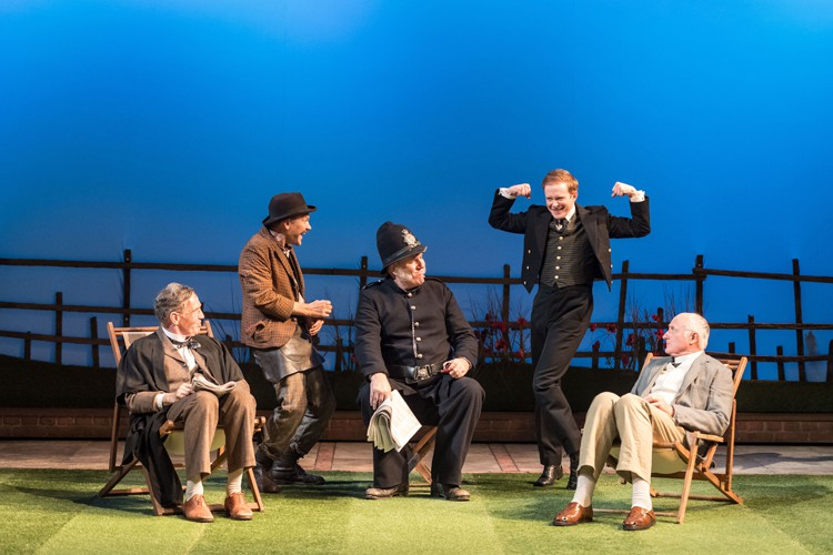 Steven Pacey, Nick Haverson, Chris McCalphy, Peter McGovern and John Arthur in RSC & Chichester Festival Theatre's production of Loves Labour's Lost. Photo by Manuel Harlan