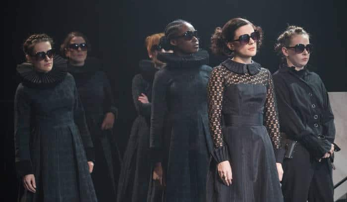 A scene from Twelfth Night. Phoebe Fox as Olivia second from right. Image by Marc Brenner