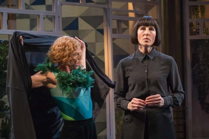 Twelfth Night Doon Mackichan as Feste,Tamsin Greig as Malvolia, image by Marc Brenner