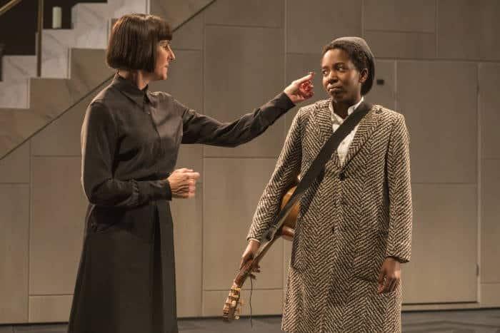 Twelfth Night - Tamsin Greig as Malvolia, Tamara Lawrance as Viola, image by Marc Brenner
