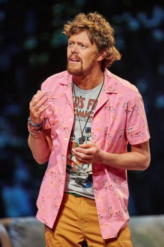 Ugly Lies the Bone at the National Theatre. Kris Marshall (Kelvin) Photo by Mark Douet