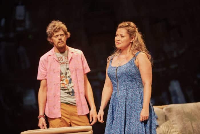 Ugly Lies the Bone at the National Theatre. l-r Kris Marshall (Kelvin) and Olivia Darnley (Kacie) Photo by Mark Douet