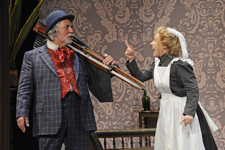 Barrie Rutter as Henry Ormonroyd and Kat Rose -Martin as Ruby Birtle - When We Are Married CREDIT. Photograph By ©Nobby Clark